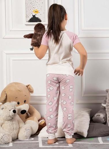 Elitol Pamuklu Likralı Kız Çocuk Pijama Takım Ekru